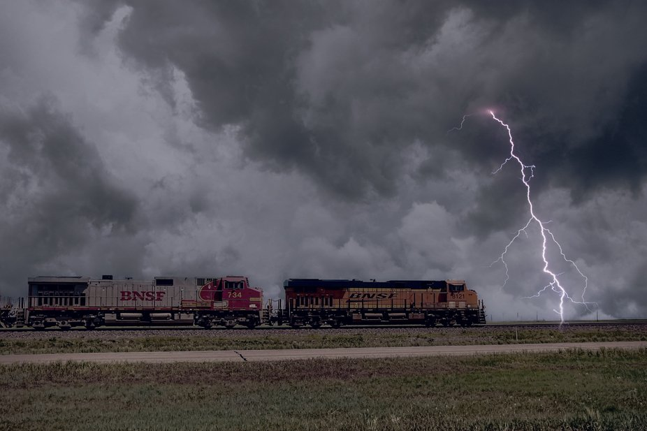 A lightning storm in the Texas panhandle near the BNSF railroad.