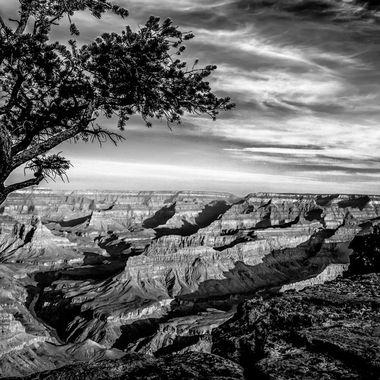 BW Grand Canyon Sunset