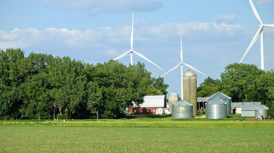 Farm house, barn, acreage, country, and wind turbines... Love it!!