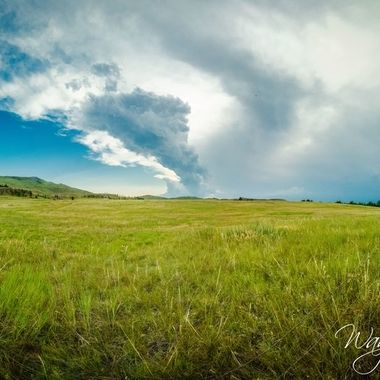 Just outside of Newcastle, Wyoming. About an hour after this set of 11 upright wide angle photos were taken to put together a panorama we were pummelled by first rain and thunder/lightning strikes which seemed very close, then pea to quarter sized hail which lasted almost 30 minutes.