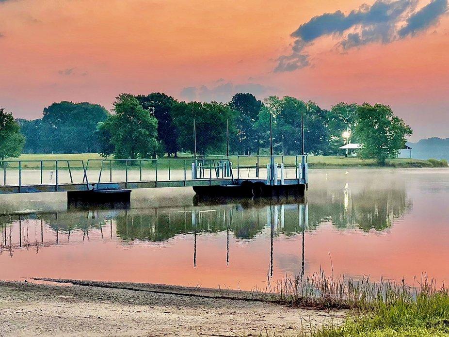 Sunrise at Holdenville Lake in Holdenville, Oklahoma. Summer 2021