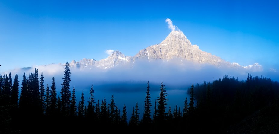 The Rising of the Peaks of the Rocky Mountains on a misty morning created a depth to the photos i...