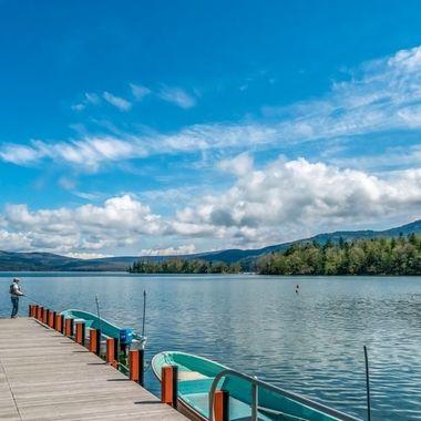 Lake Akan, Hokkiado, Japan.  Dock Fishing.