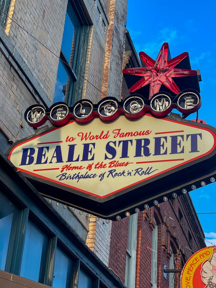 Beale Street in Memphis Home of the Blues and Birthplace of Rock 'n' Roll.