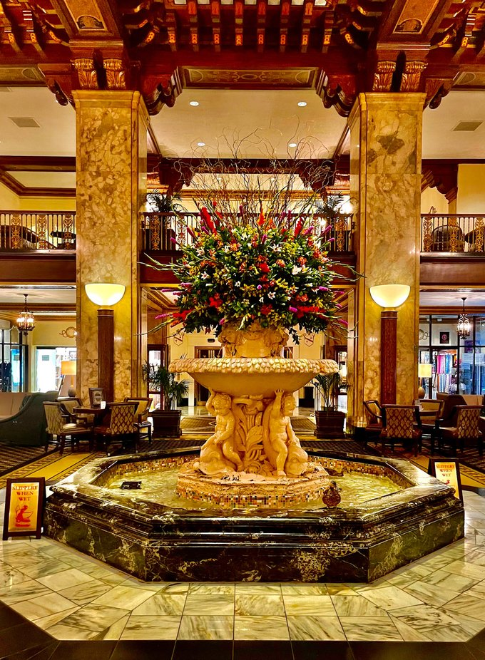 The ducks in the lobby from the duck parade at the Peabody Hotel in Memphis Tennessee