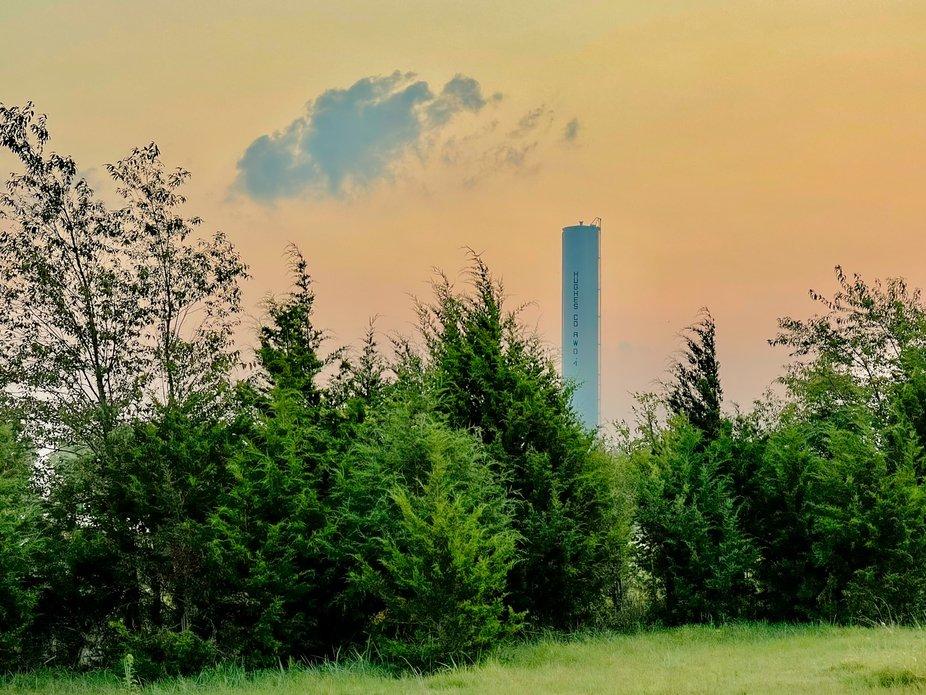 Hughes county Oklahoma water tower at sunrise