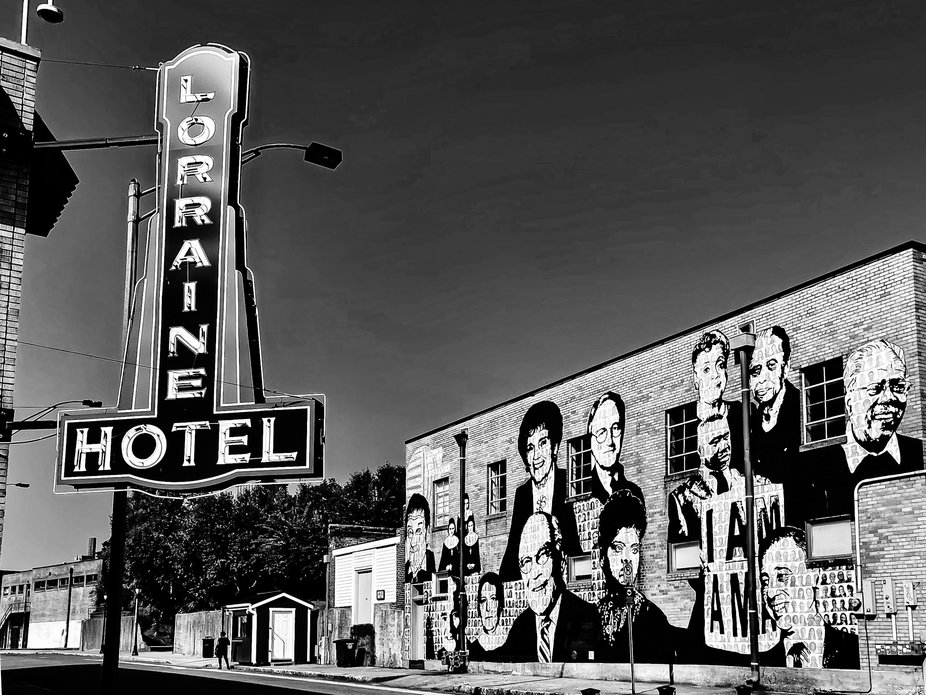 The famous Lorraine Motel in Memphis Tennessee where Martin Luther King Jr. was shot and the wall mural.