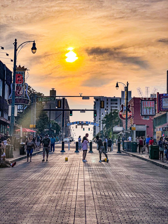 Sunset on Beale Street in Memphis Tennessee.