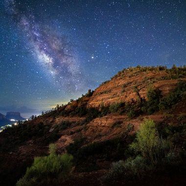 Long exposure of the Milkyway captured in Sedona, Arizona at the Airport Mesa Vortex