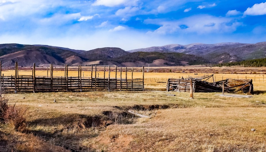 An old ranch house near the continental divide in the Rocky Mountains in Colorado.