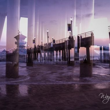 Double exposure of Huntington Beach Pier from side and underneath at sunset on 8/8/2021.  We decided to take a day and go to the beach just to hang out, listen to the waves come crashing in and just have a relaxing day. Stayed till after sunset and caught some very cool shots throughout the day with the camera.  For submission to the double exposure contest.