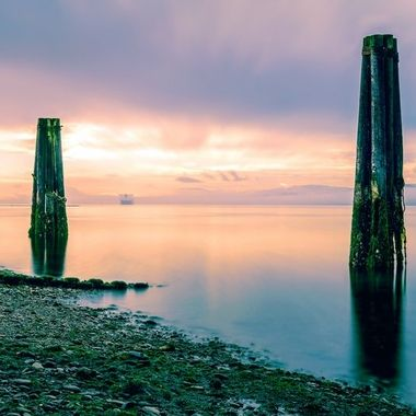 A long exposure capture of the ocean and shipping harbor in Port Angeles, Washington