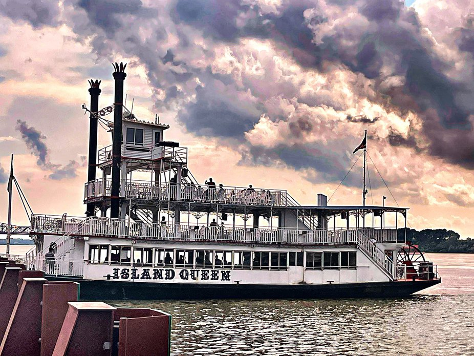 The Island Queen Riverboat on the Mississippi River in Memphis Tennessee