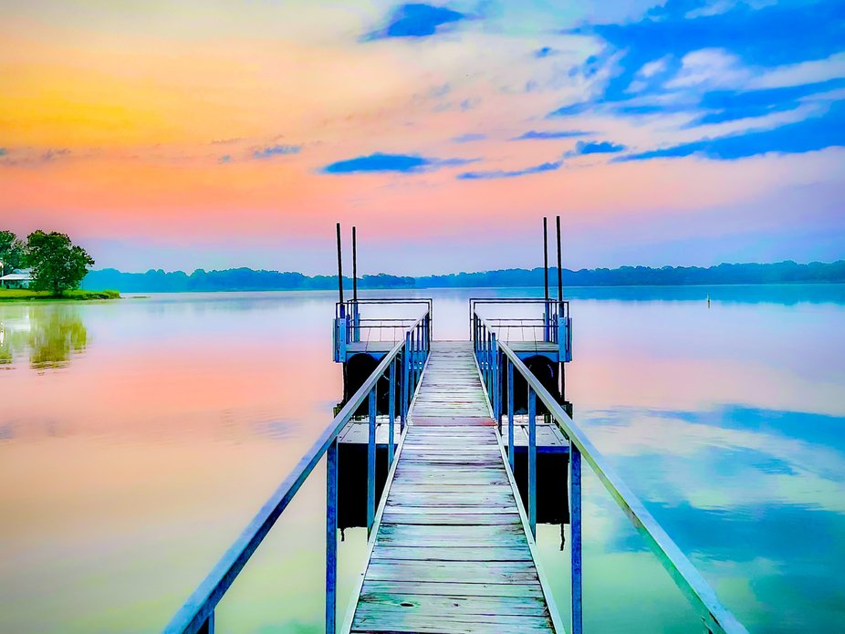 The dock at Lake Holdenville in Oklahoma.