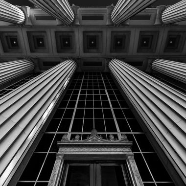 Columns looking up with entrance portico