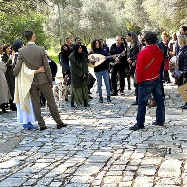 Street scene of a typical Greek wedding!