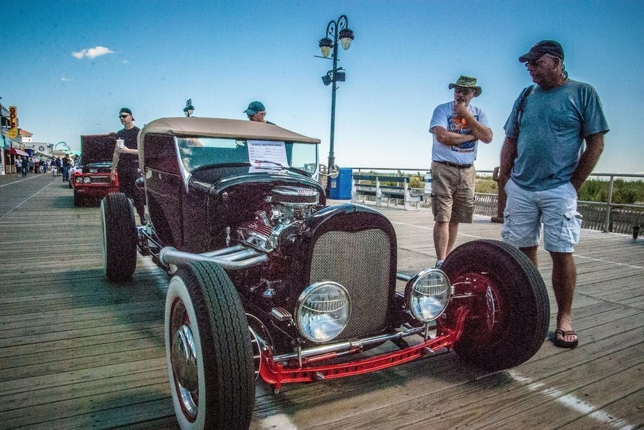 My dad's 27 Ford Lakes Modified getting some attention on the boardwalk car show- Ocena City,NJ