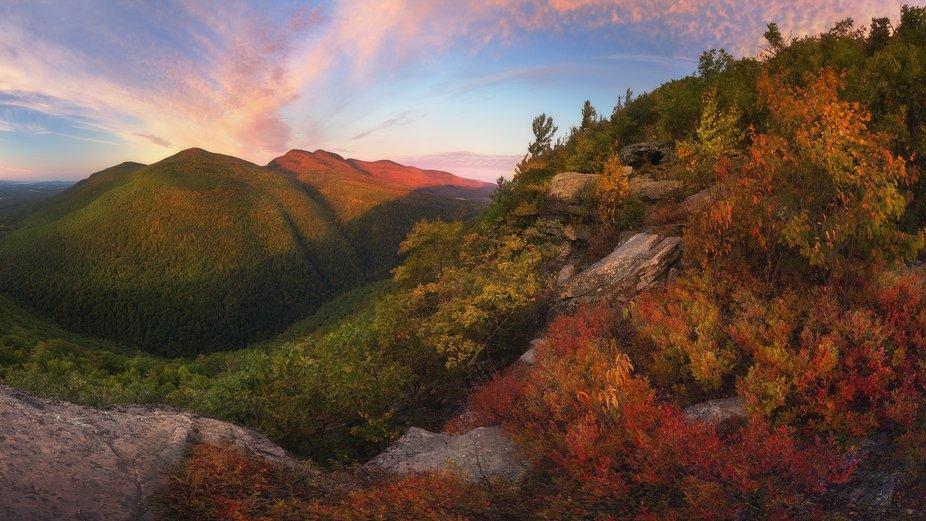 an autumn vista at sunrise