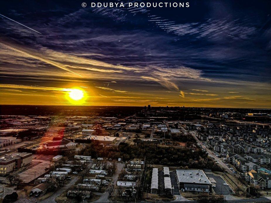 A heavily edited Oklahoma sunset