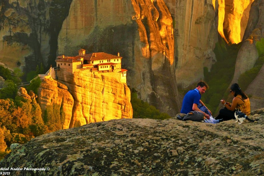 The amazing cliffs of Meteora .Some of them has a Monastery at the top.